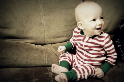 Liam in his Christmas pajamas